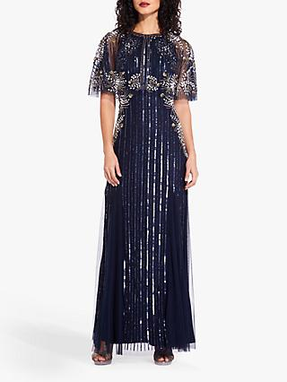 Adrianna Papell Beaded Capelet Dress, Midnight/Black