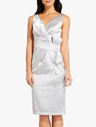 Adrianna Papell Satin Pleat Shift Dress, Moonlight