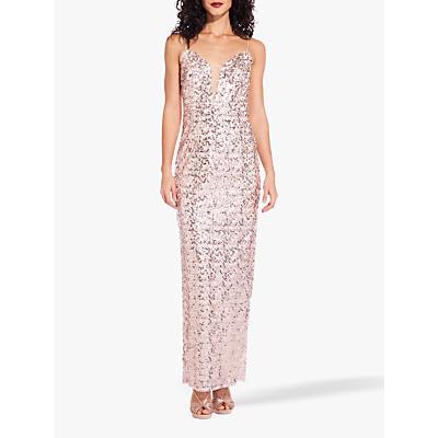 Adrianna Papell Sequin Column Dress, Rose Gold