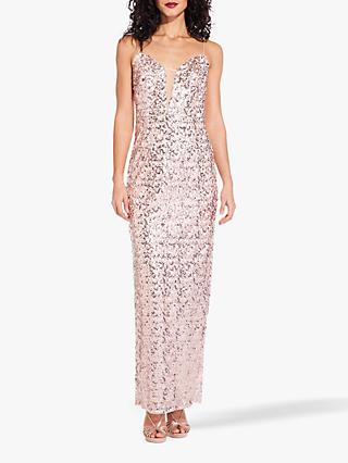 Adrianna Papell Sequin Column Dress, Rose Gold