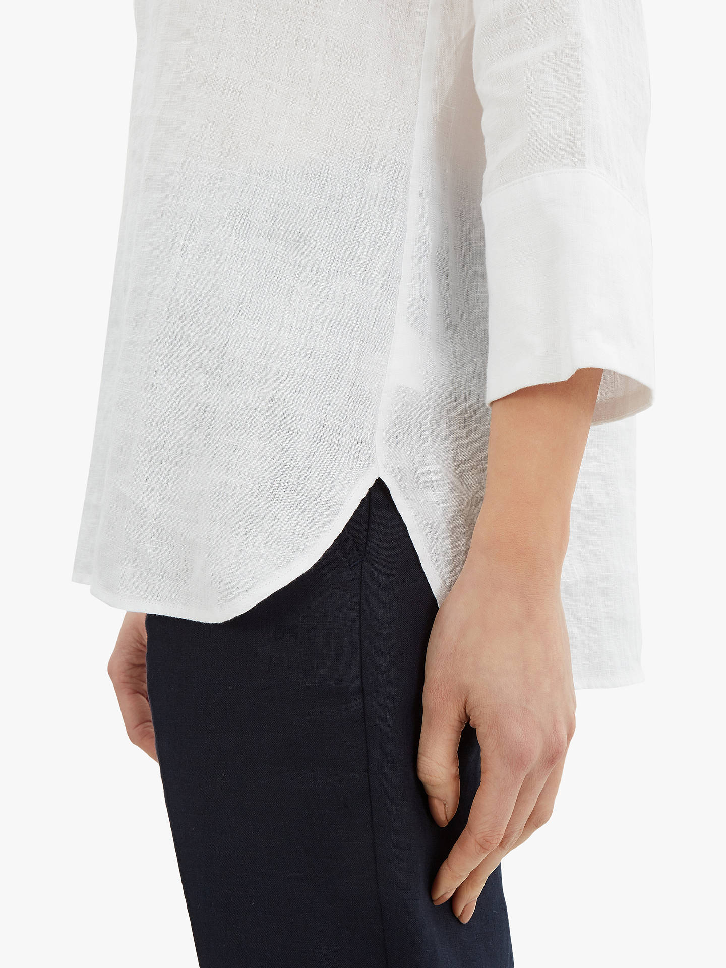 Buy Jaeger Linen Tunic Top, White, 6 Online at johnlewis.com