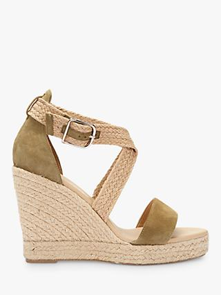 Mint Velvet Linda Wedge Heel Sandals, Green/Multi Leather