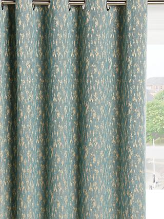John Lewis & Partners Metallic Weave Pair Lined Eyelet Curtains, Blue