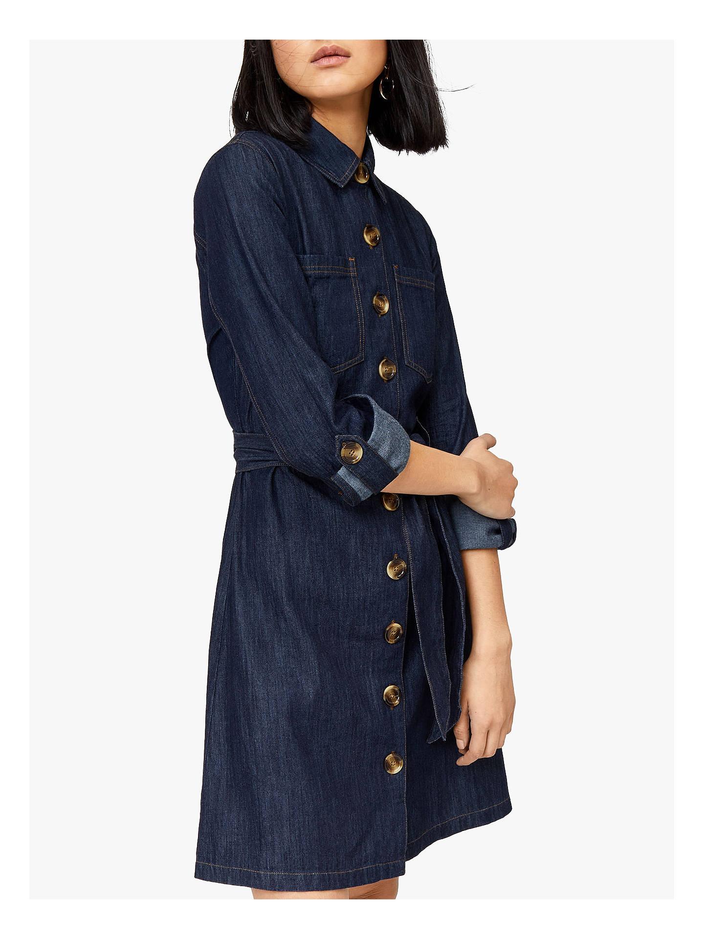 a7292b9668 BuyWarehouse Belted Denim Shirt Dress