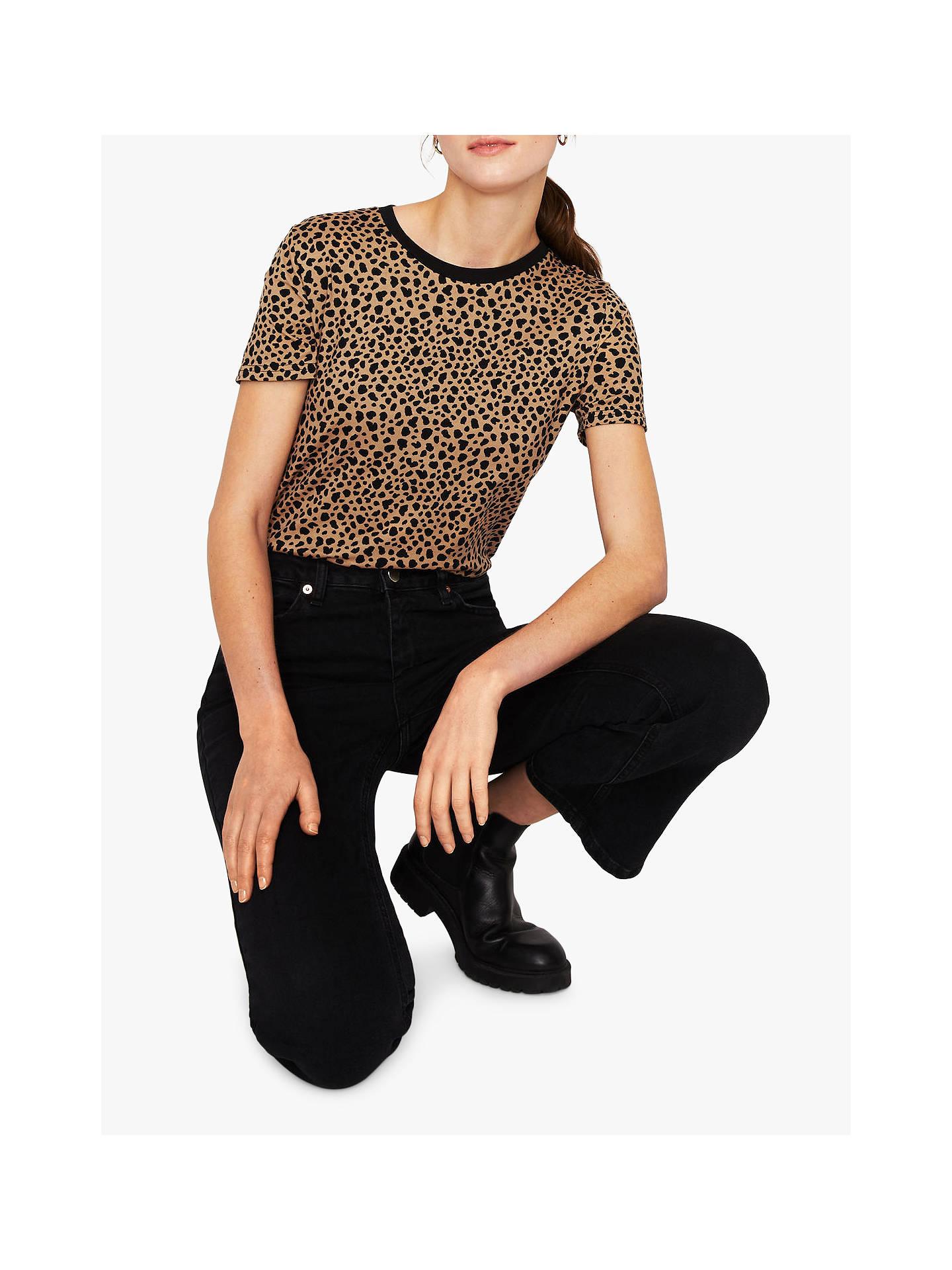 1badc37bd864 Buy Warehouse Cheetah Print T-Shirt, Brown, 14 Online at johnlewis.com ...