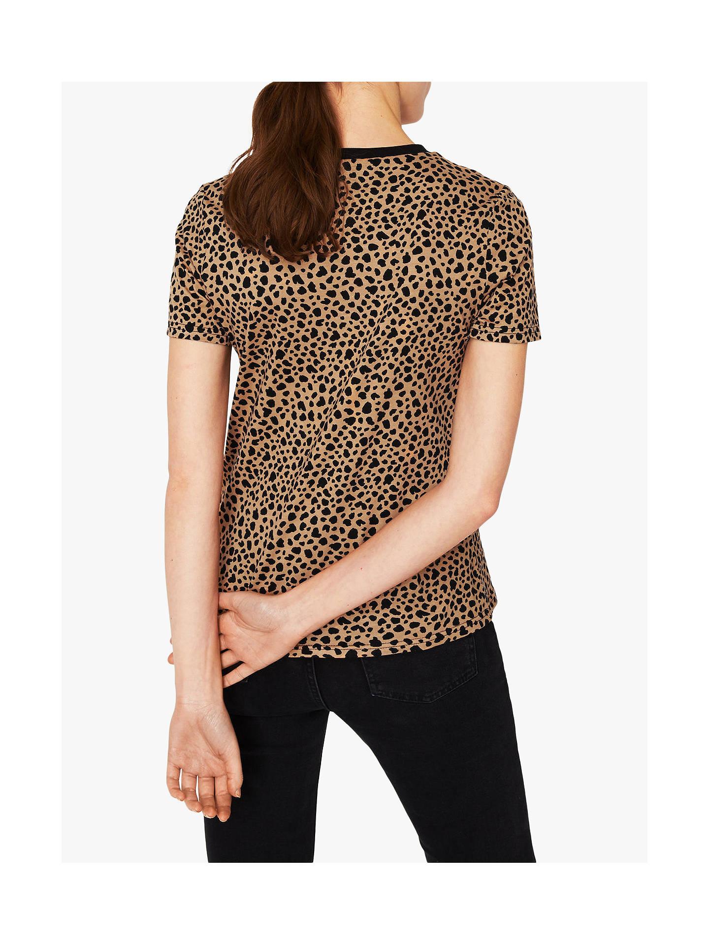 571037ac1b6e ... Buy Warehouse Cheetah Print T-Shirt, Brown, 14 Online at johnlewis.com  ...