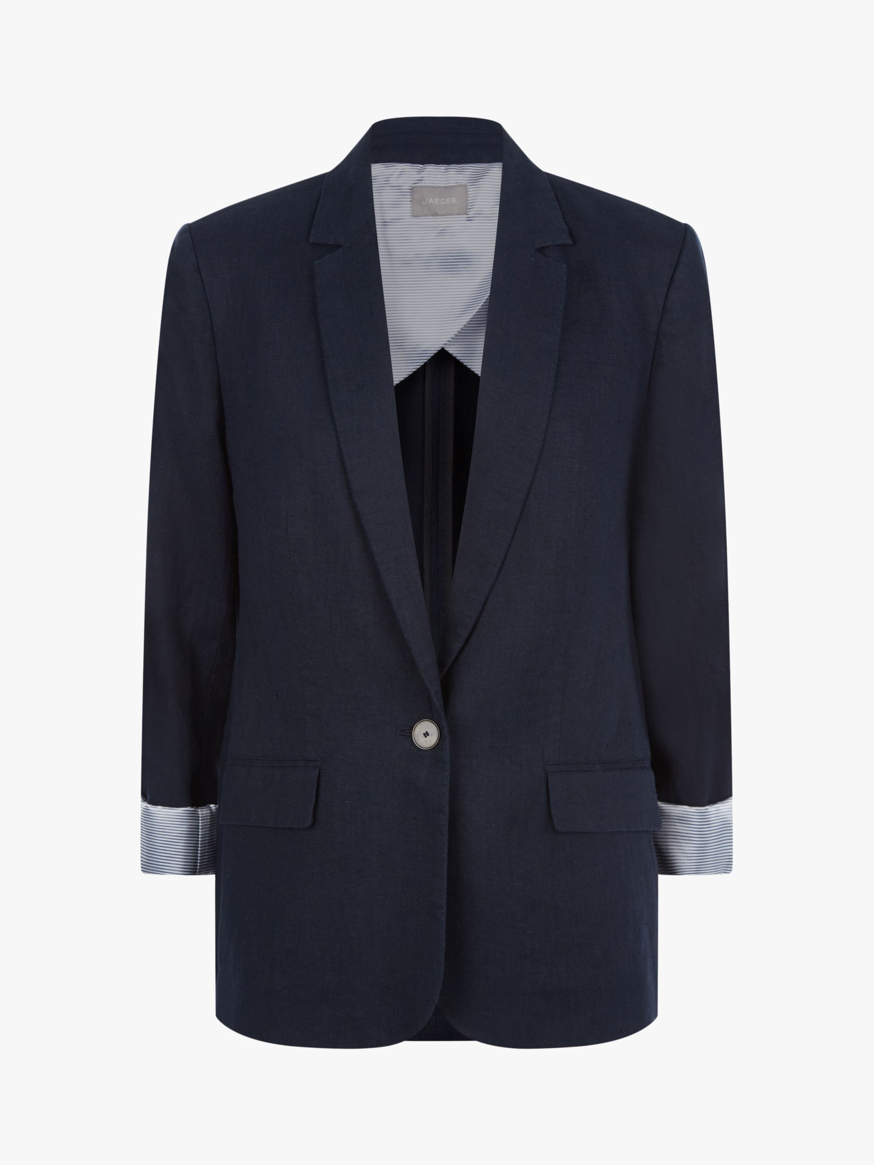 Jaeger Jaeger Single Breasted Linen Blazer, Dark Blue