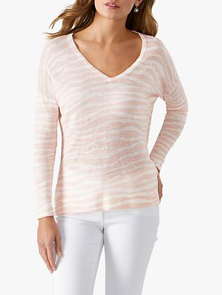 Pure Collection Zebra Print V-Neck Linen Jumper, Pastel Pink