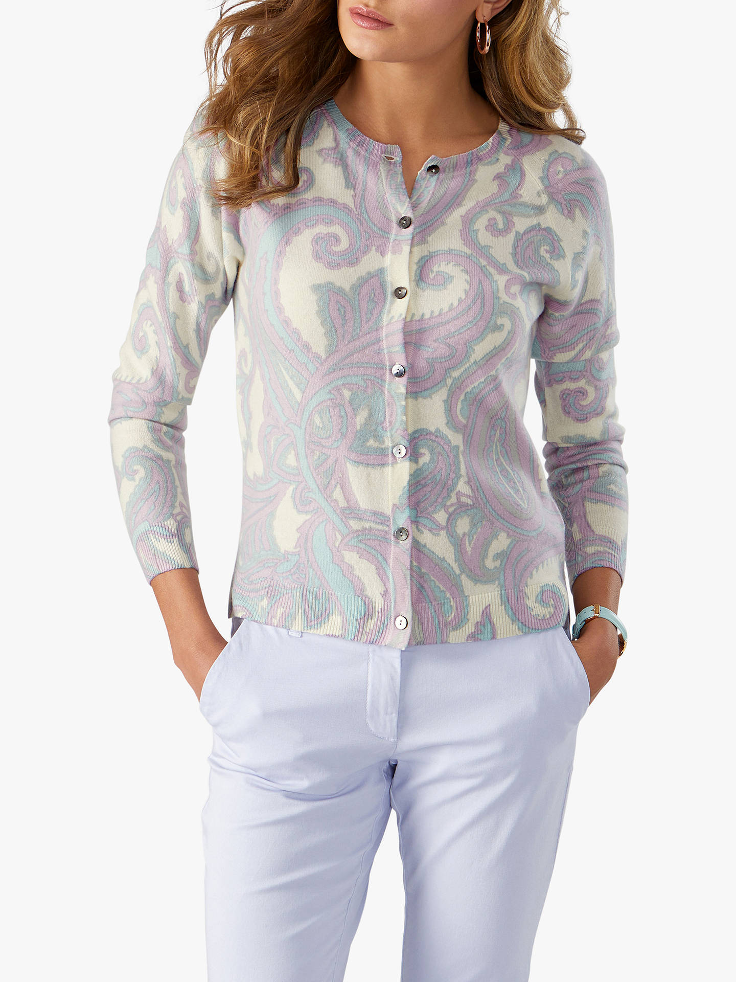 Pure Collection Cashmere Paisley Print Crew Neck Cardigan