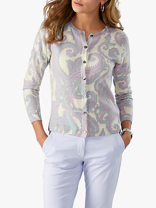 813816a79058 Pure Collection Cashmere Paisley Print Crew Neck Cardigan