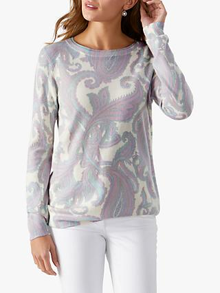 Pure Collection Cashmere Paisley Print Round Neck Sweater, Grey