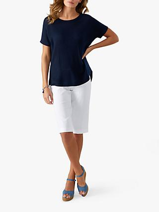 Pure Collection Curved Hem Cashmere Knitted T-Shirt, Navy