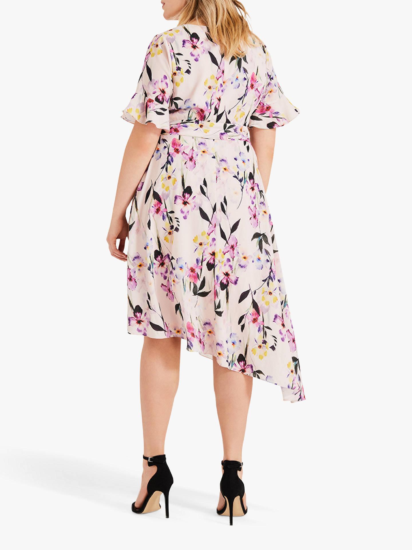 040a3665441d0 ... Buy Studio 8 Calie Floral Print Asymmetric Midi Dress, Pink/Multi, 14  Online ...