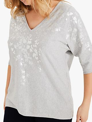 Studio 8 Pippa Foil Print V-Neck Cotton Top, Grey