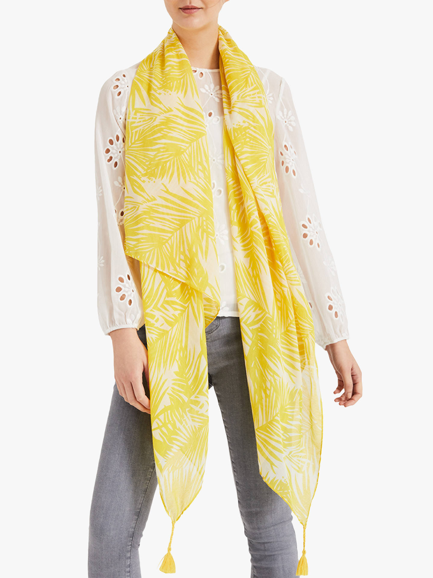 Buy Phase Eight Sophie Palm Print Scarf, Yellow Online at johnlewis.com