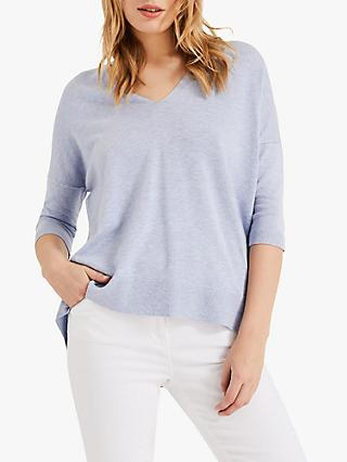 Phase Eight Estel Ellipse V-Neck Top, Soft Blue