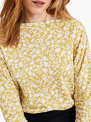 Phase Eight Florentine Floral Print Cotton Top, Mimosa