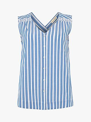 Phase Eight Philomena Striped Sleeveless Cotton Blouse, White/Blue