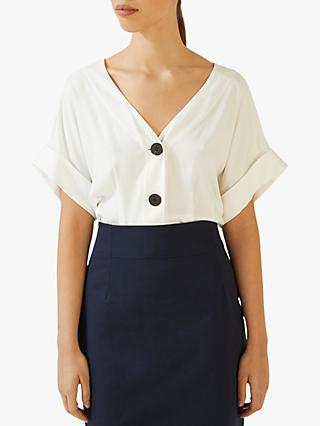 Jigsaw Summer Twill Button Front Top, Ivory