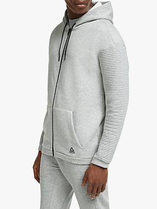 Reebok Workout Ready Full Zip Training Hoodie, Medium Grey Heather