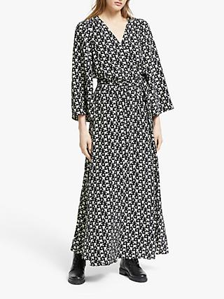 Somerset by Alice Temperley Star Bird Wrap Kimono Dress, Black/Ivory
