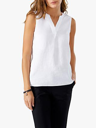 Pure Collection Linen Sleeveless Top, White
