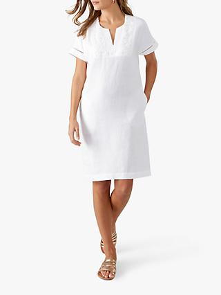 Pure Collection Linen Lace Trim Dress, White