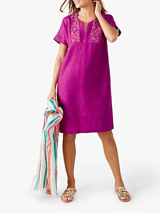 Pure Collection Linen Lace Trim Dress, Magenta