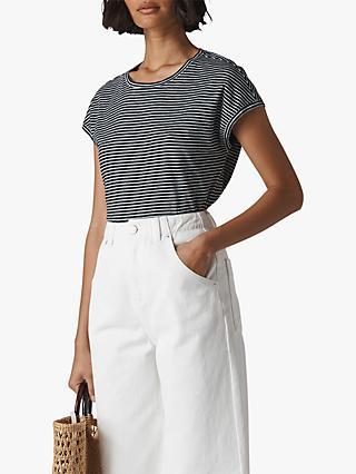 73004a248ad49 Whistles Stripe Minimal Cap Sleeve T-Shirt