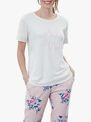 Joules Anna Night Owl Pyjama T-Shirt, White