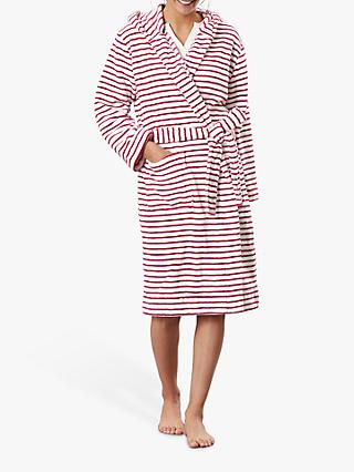 Joules Rita Stripe Fleece Dressing Gown, Red/White