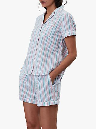Joules Meg Stripe Seersucker Pyjama Set, Multi