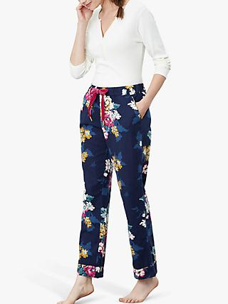 Joules Snooze Floral Print Pyjama Bottoms, Navy/Multi