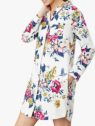 Joules Verity Floral Print Nightshirt, Cream/Multi