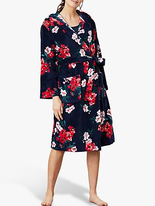 Joules Rita Floral Fleece Dressing Gown, Navy