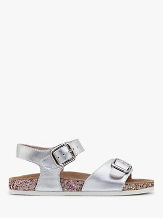 Mini Boden Children's Leather Sandals, Metallic Silver