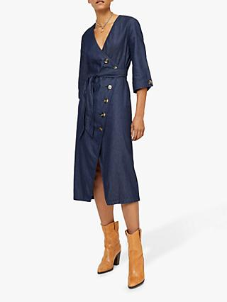 Warehouse Asymmetric Denim Shirt Dress, Mid Wash