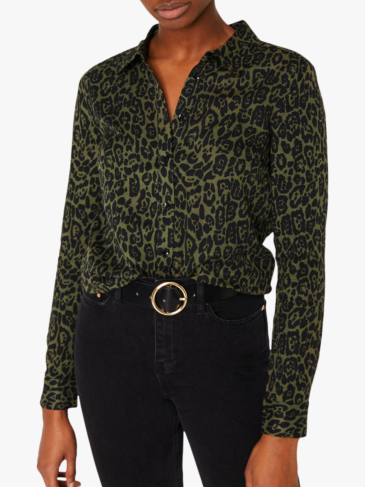8ed41e3fcf0a Buy Warehouse Animal Print Shirt, Green Print, 14 Online at johnlewis.com  ...