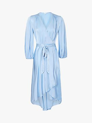 Ghost Aggie Waist Tie Wrap Dress, Pale Blue