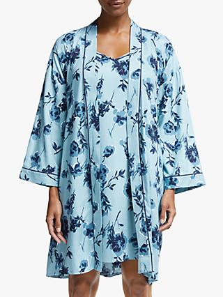 John Lewis & Partners Lottie Floral Dressing Gown With Eye Mask, Blue