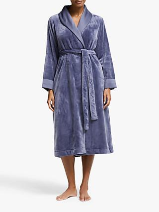 John Lewis & Partners Satin Fleece Robe, Blue Grey
