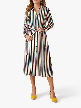 Pure Collection Linen Striped Shirt Dress, Multi