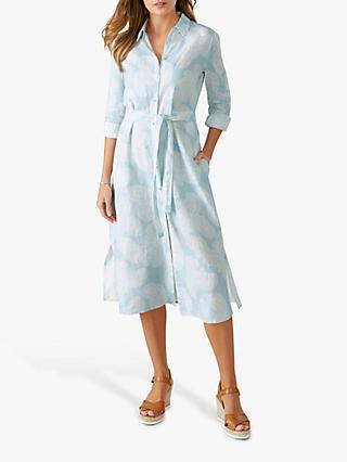 Pure Collection Linen Paisley Shirt Dress, Pale Blue