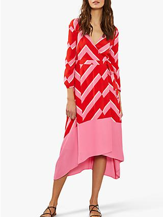 Mint Velvet Chevron Wrap Dress, Pink/Red