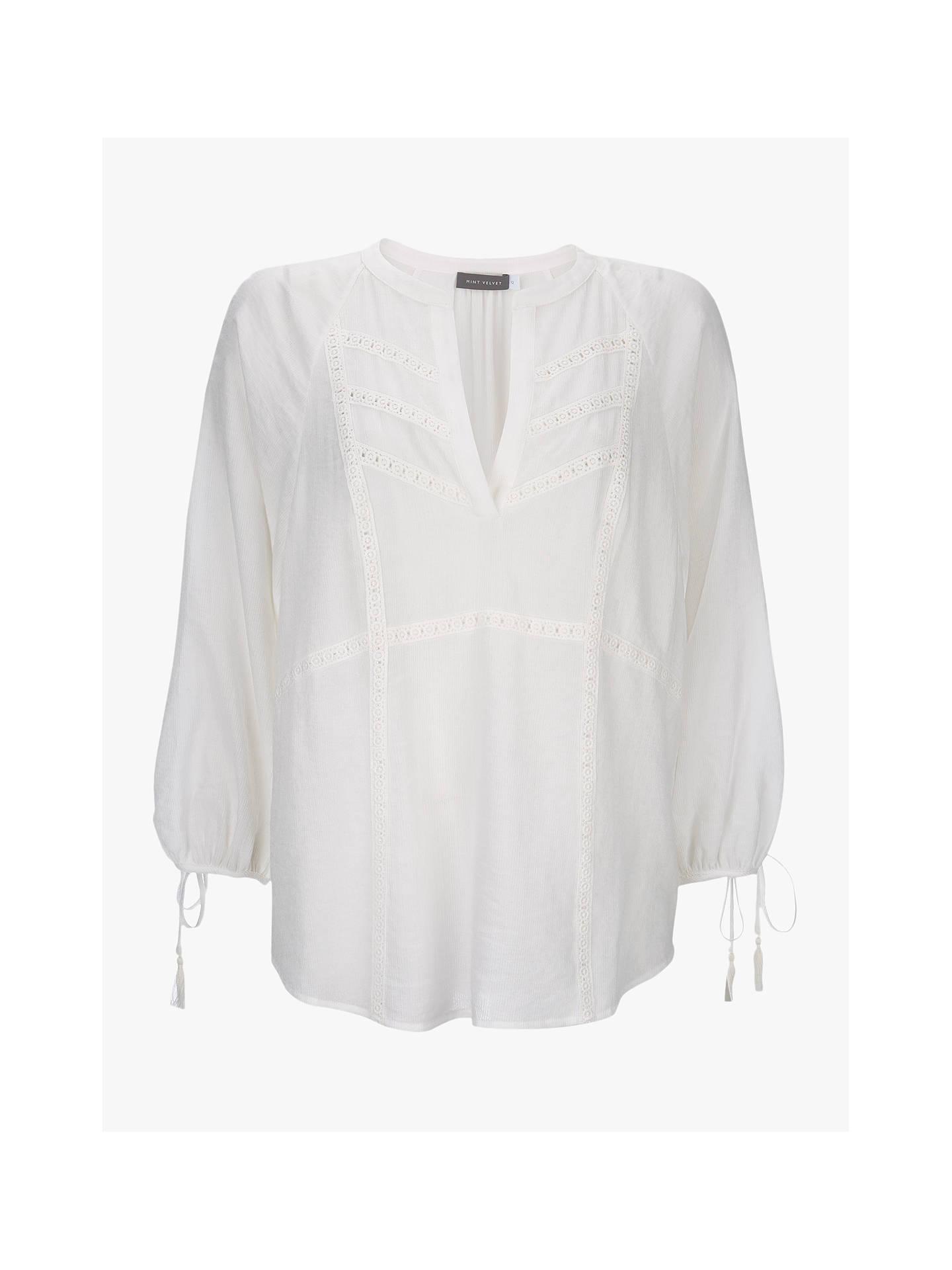 bc06e2c44736 Buy Mint Velvet Lace Boho Top, Ivory, 18 Online at johnlewis.com ...