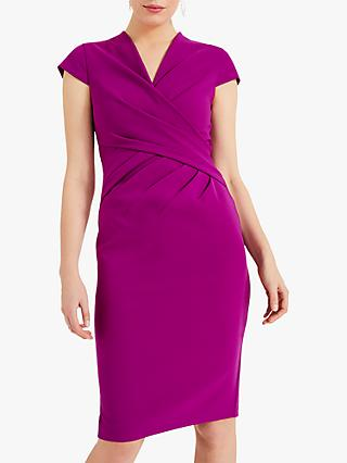 Phase Eight Rosetta Ruch Detail Dress, Bright Plum