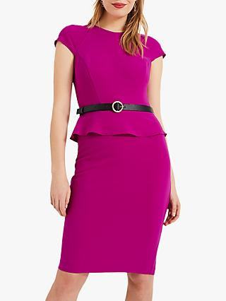 Phase Eight Milla Peplum Dress, Bright Plum