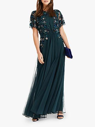 Phase Eight Arlette Beaded Maxi Dress, Bottle Green
