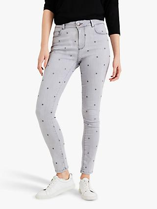 Phase Eight Solana Star Embroidery Jeans, Grey