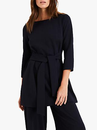 Phase Eight Geneva Waist Tie Tunic Top, Navy